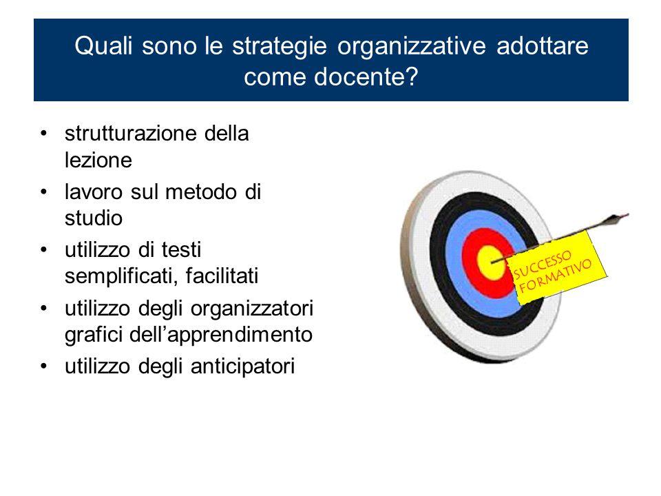 Quali sono le strategie organizzative adottare come docente