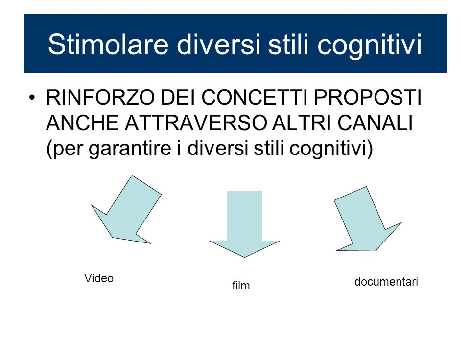 Stimolare diversi stili cognitivi