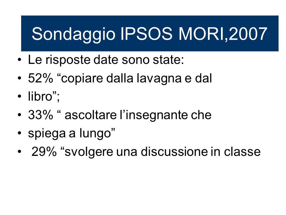 Sondaggio IPSOS MORI,2007 Le risposte date sono state: