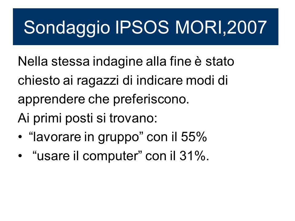 Sondaggio IPSOS MORI,2007 Nella stessa indagine alla fine è stato