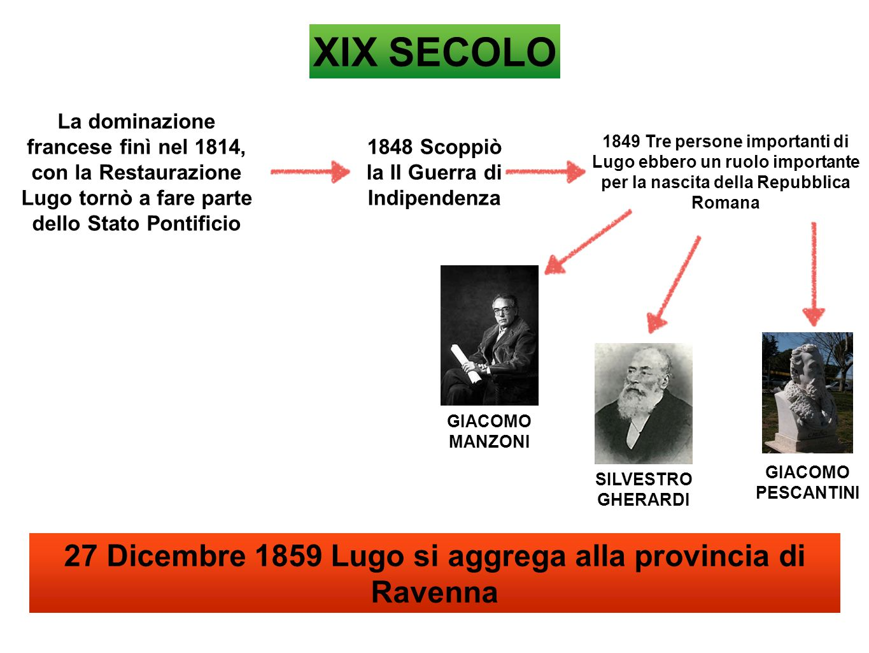 XIX SECOLO 27 Dicembre 1859 Lugo si aggrega alla provincia di Ravenna