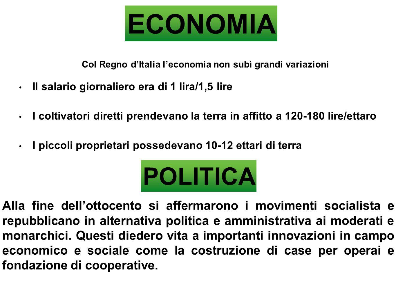 Col Regno d'Italia l'economia non subì grandi variazioni