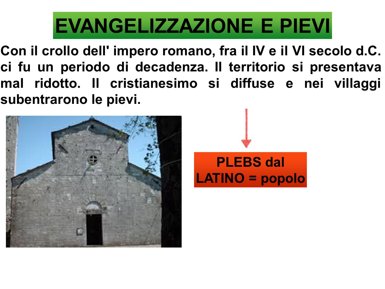 EVANGELIZZAZIONE E PIEVI PLEBS dal LATINO = popolo