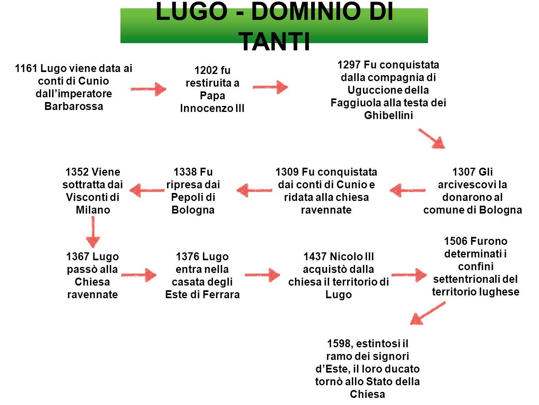 LUGO - DOMINIO DI TANTI 1297 Fu conquistata dalla compagnia di Uguccione della Faggiuola alla testa dei Ghibellini.