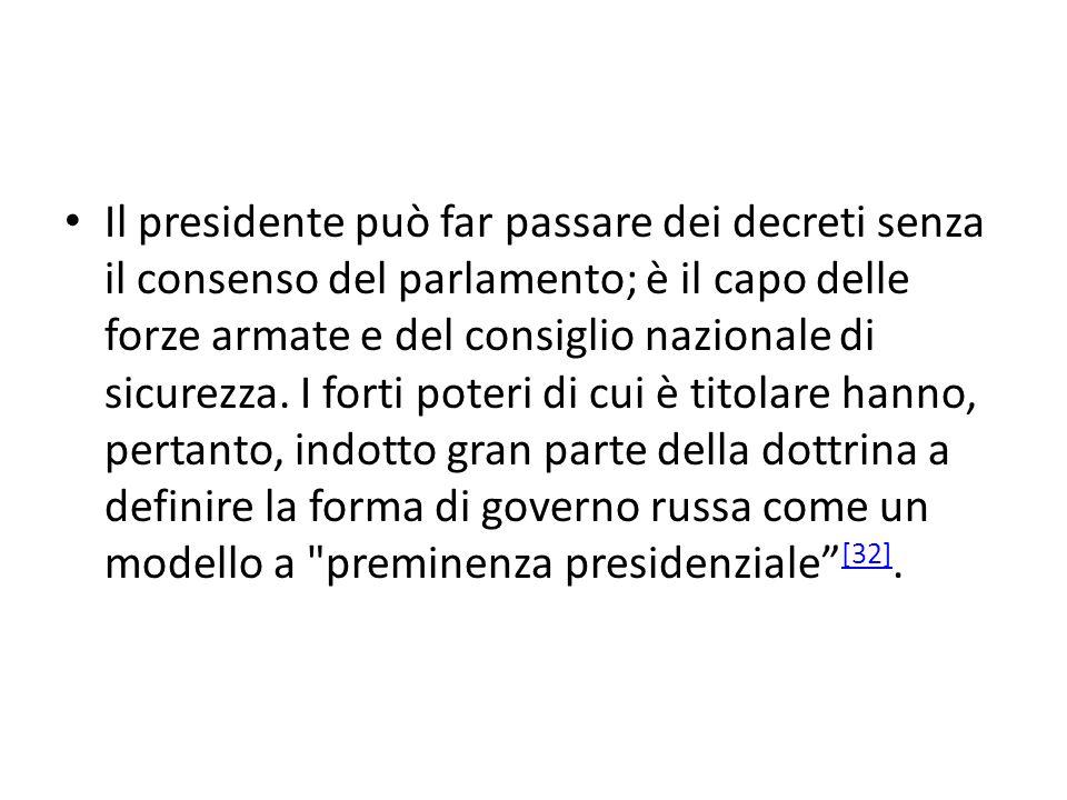 Il presidente può far passare dei decreti senza il consenso del parlamento; è il capo delle forze armate e del consiglio nazionale di sicurezza.