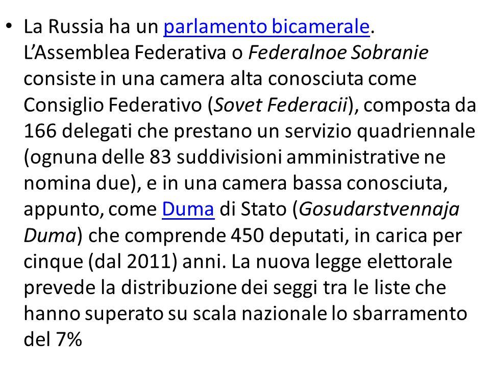 La Russia ha un parlamento bicamerale