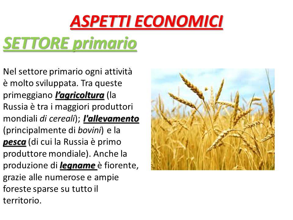 ASPETTI ECONOMICI SETTORE primario
