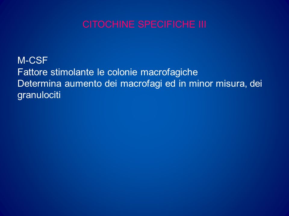 CITOCHINE SPECIFICHE III