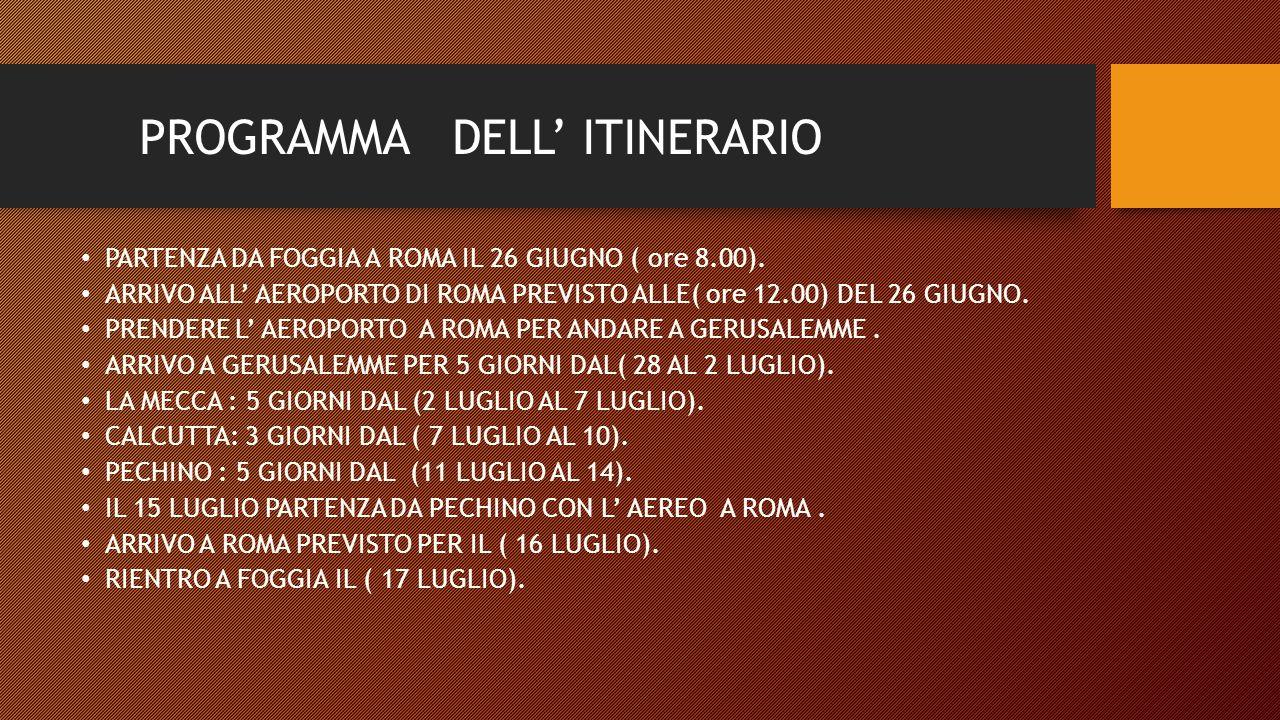 PROGRAMMA DELL' ITINERARIO