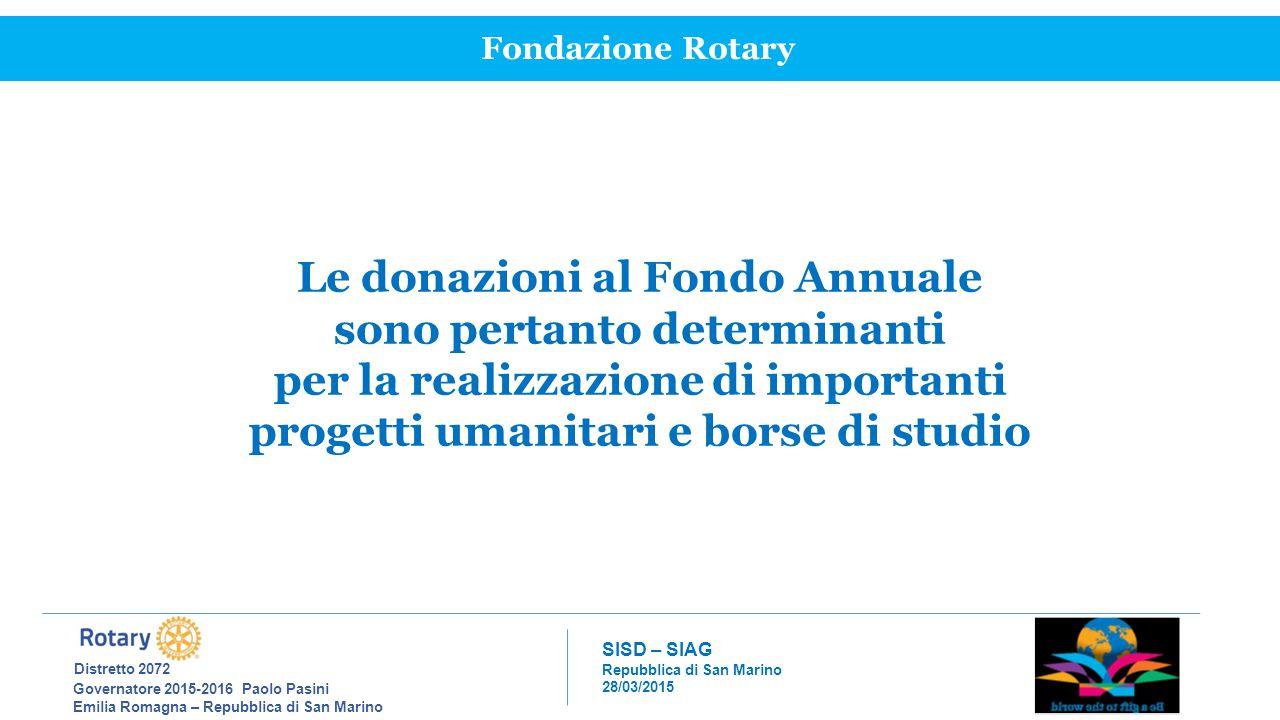 Le donazioni al Fondo Annuale sono pertanto determinanti
