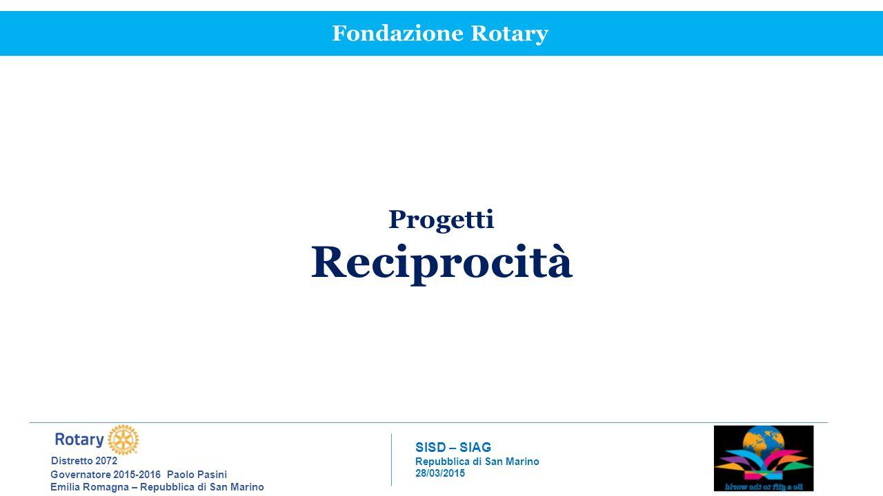 Reciprocità Progetti Fondazione Rotary Distretto 2072 SISD – SIAG