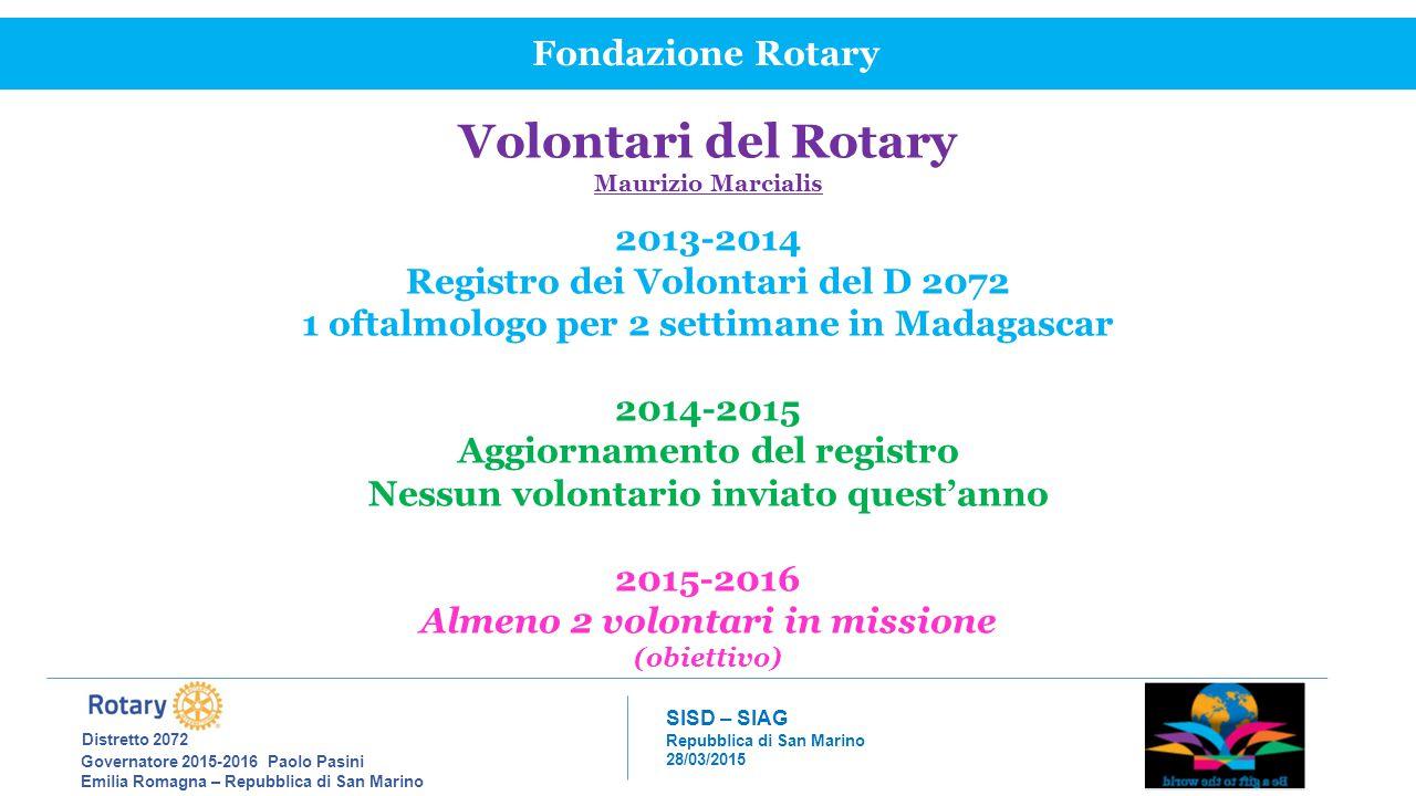 Volontari del Rotary Fondazione Rotary 2013-2014