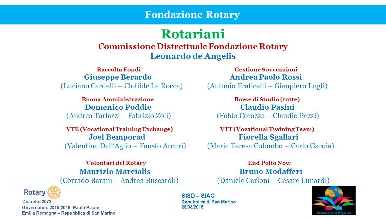 Rotariani Fondazione Rotary Distretto 2072