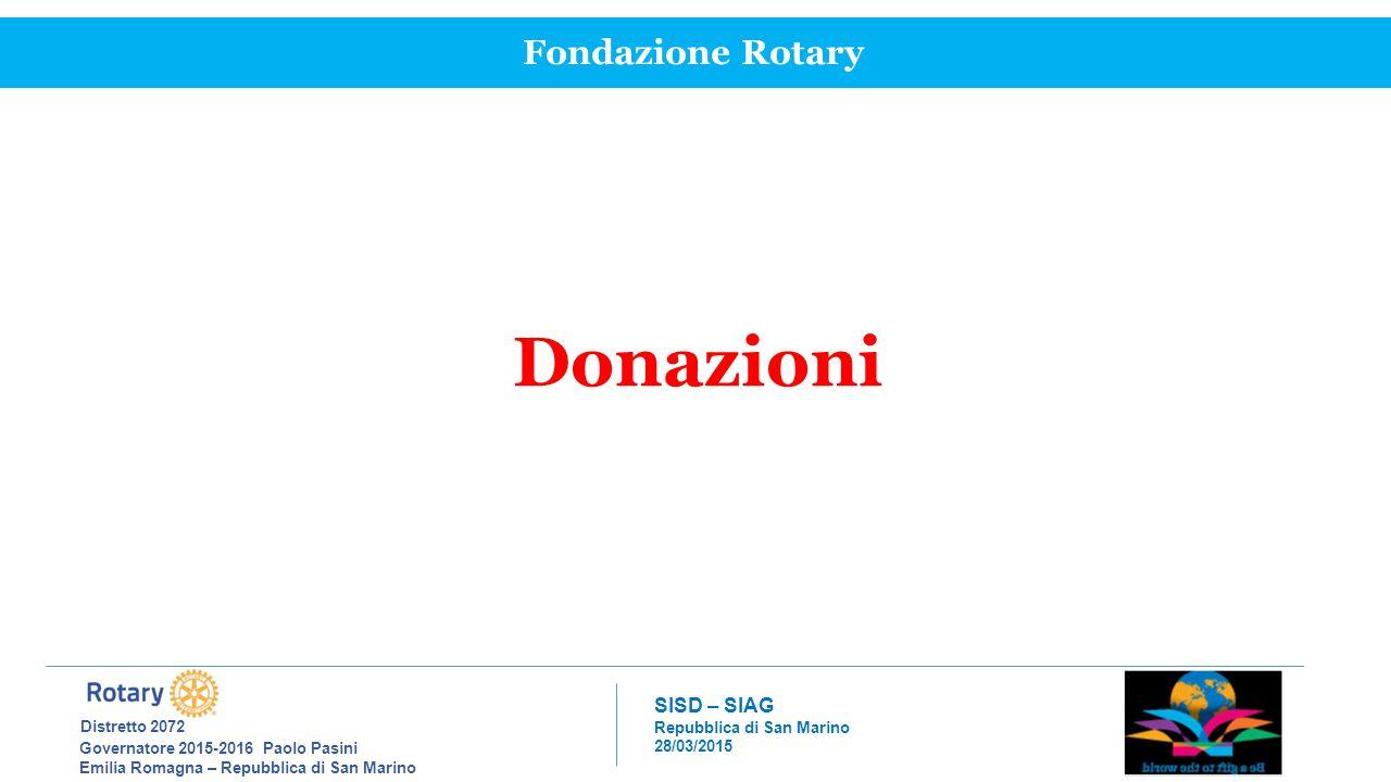 Donazioni Fondazione Rotary Distretto 2072 SISD – SIAG