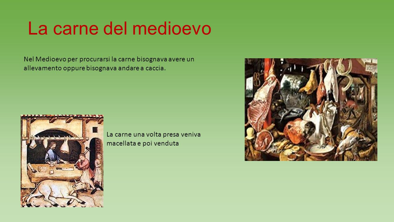 La carne del medioevo Nel Medioevo per procurarsi la carne bisognava avere un allevamento oppure bisognava andare a caccia.