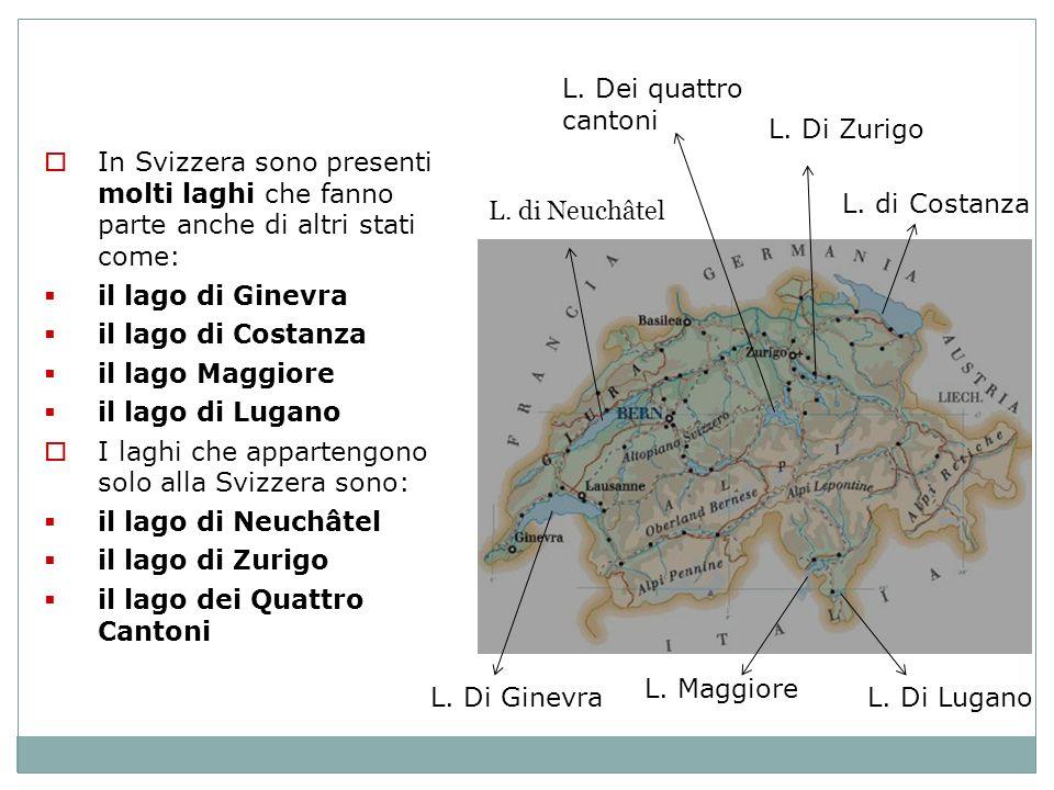 L. Dei quattro cantoni L. Di Zurigo. In Svizzera sono presenti molti laghi che fanno parte anche di altri stati come: