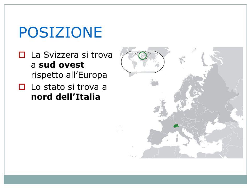 POSIZIONE La Svizzera si trova a sud ovest rispetto all'Europa