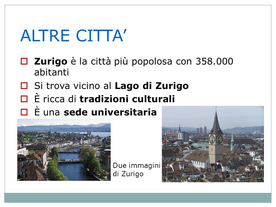 ALTRE CITTA' Zurigo è la città più popolosa con 358.000 abitanti
