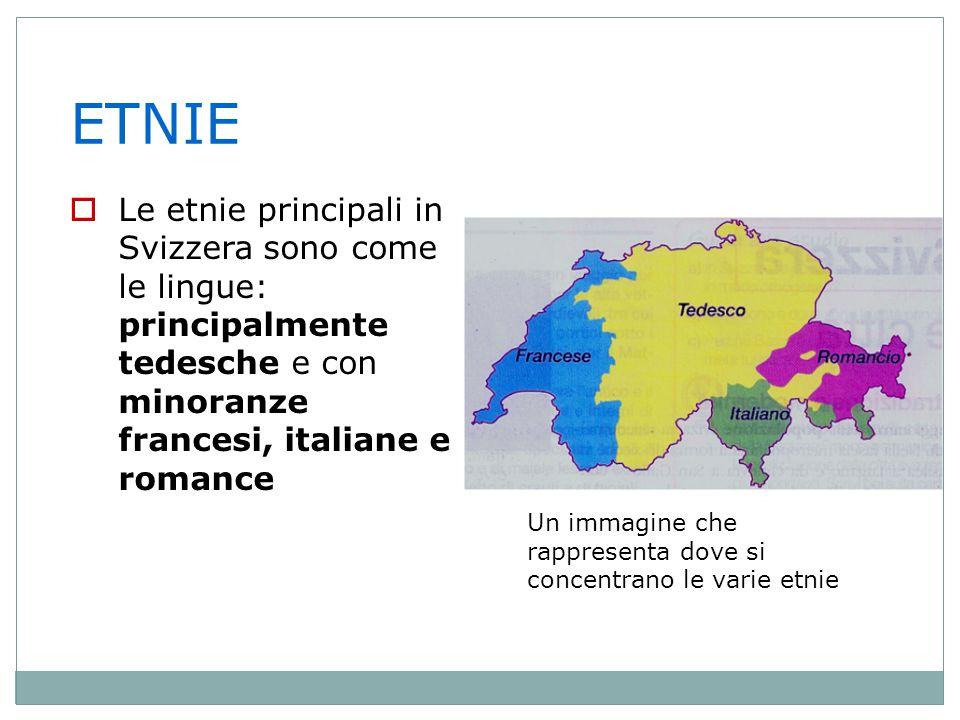 ETNIE Le etnie principali in Svizzera sono come le lingue: principalmente tedesche e con minoranze francesi, italiane e romance.