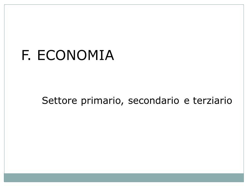 F. ECONOMIA Settore primario, secondario e terziario