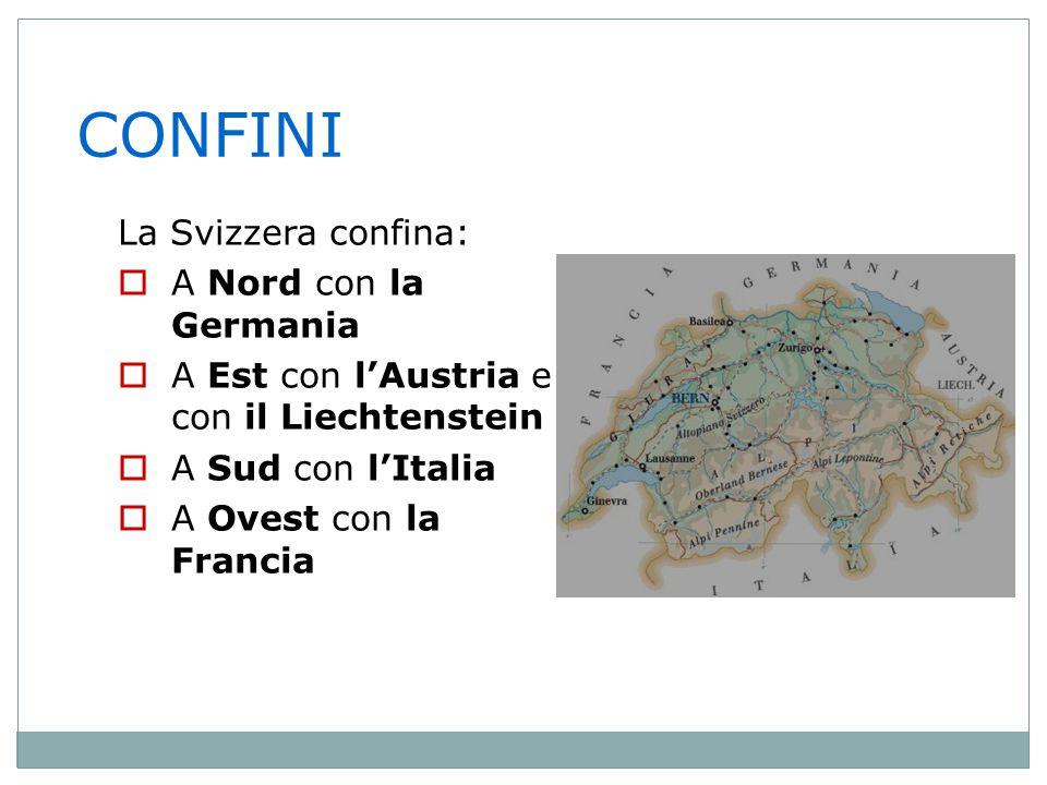 CONFINI La Svizzera confina: A Nord con la Germania