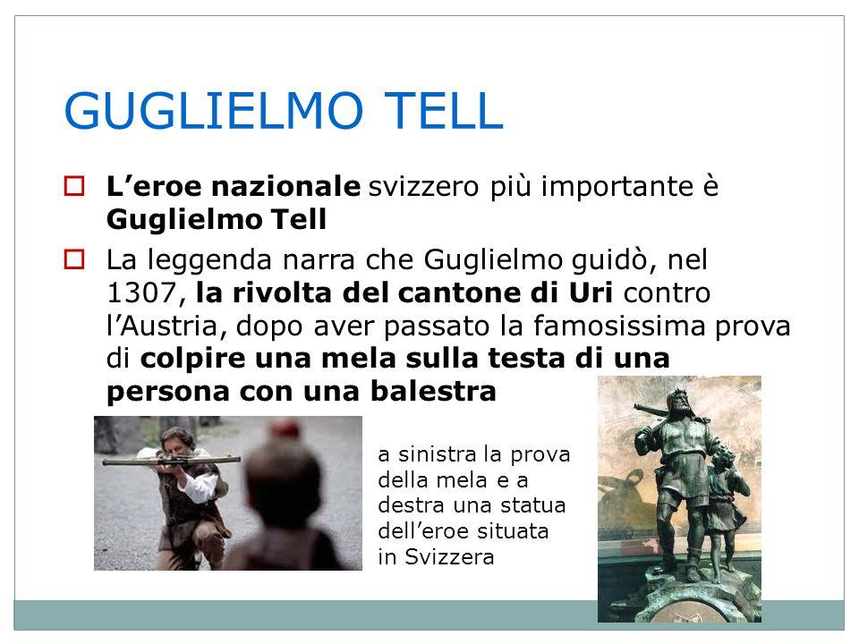 GUGLIELMO TELL L'eroe nazionale svizzero più importante è Guglielmo Tell.