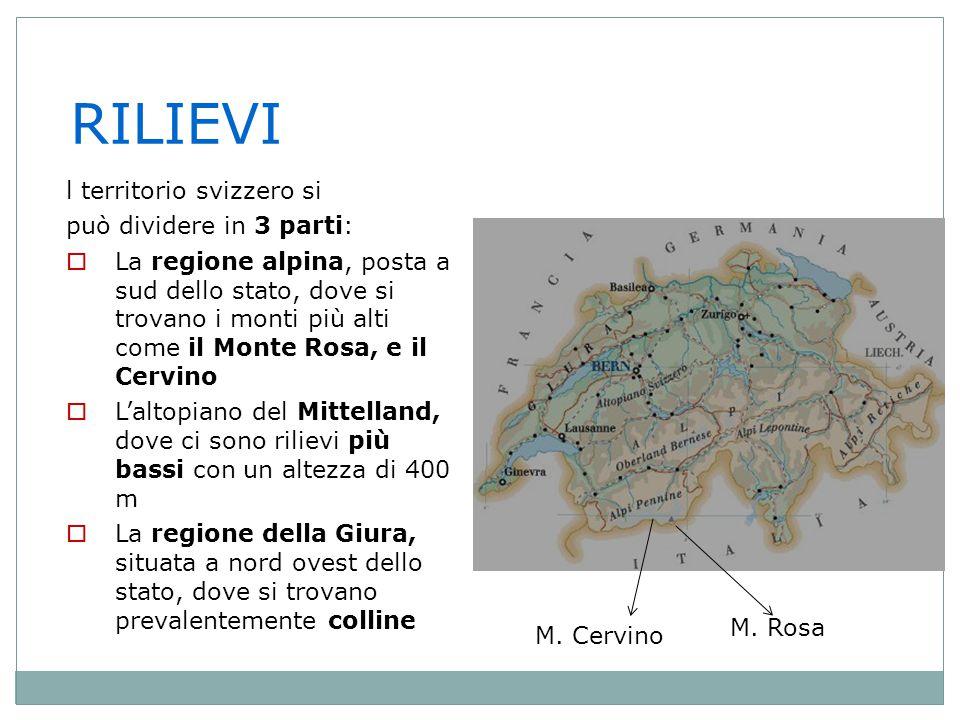 RILIEVI l territorio svizzero si può dividere in 3 parti: