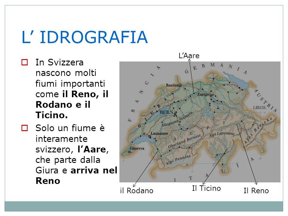 L' IDROGRAFIA L'Aare. In Svizzera nascono molti fiumi importanti come il Reno, il Rodano e il Ticino.