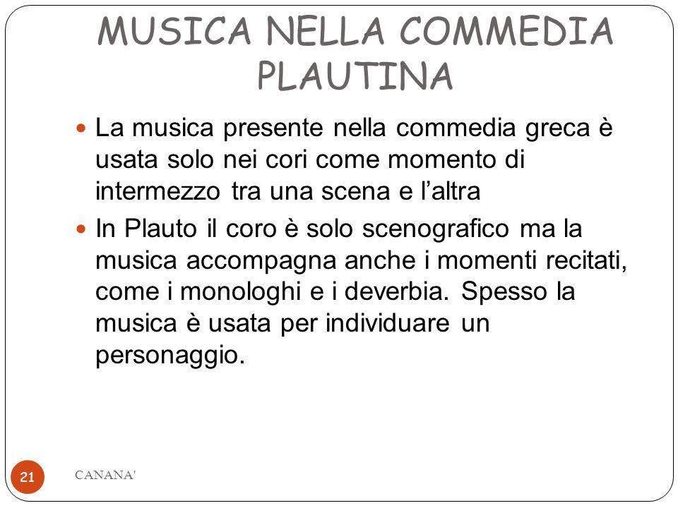 MUSICA NELLA COMMEDIA PLAUTINA
