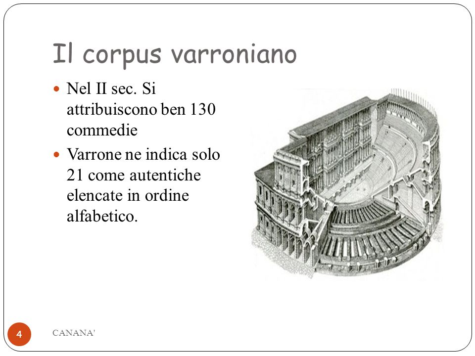 Il corpus varroniano Nel II sec. Si attribuiscono ben 130 commedie
