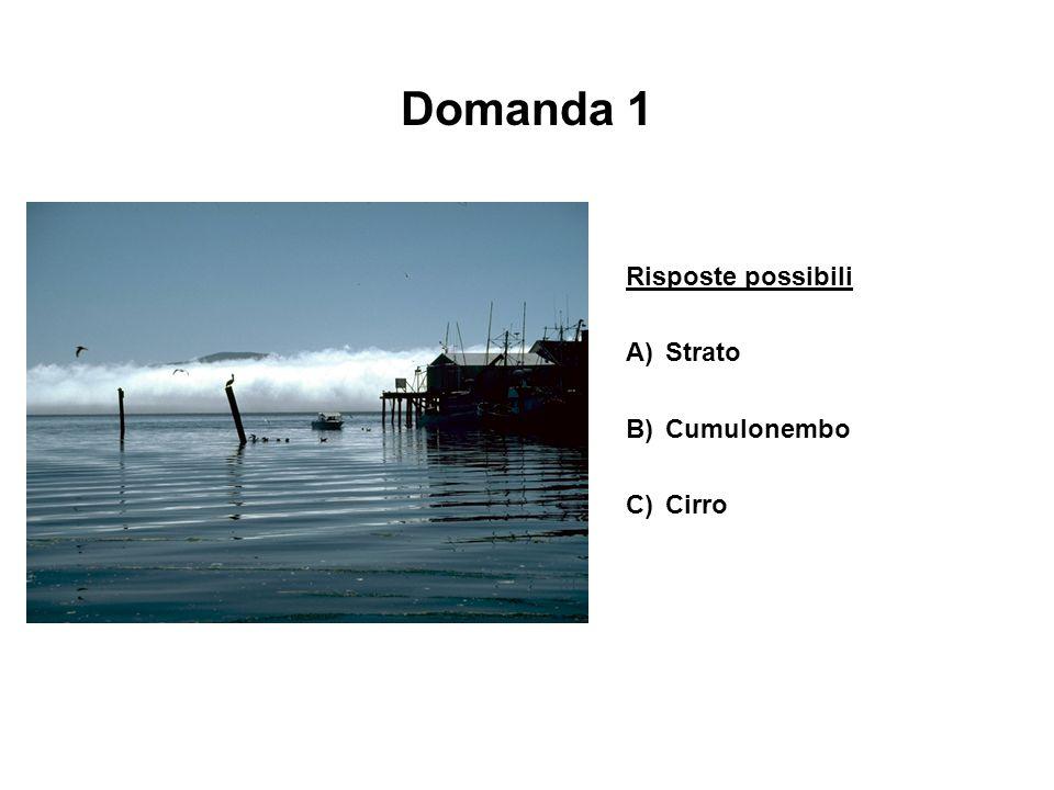 Domanda 1 Risposte possibili A) Strato B) Cumulonembo C) Cirro