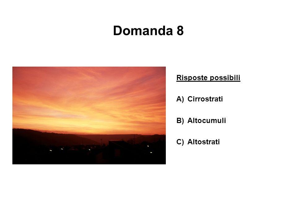 Domanda 8 Risposte possibili A) Cirrostrati B) Altocumuli