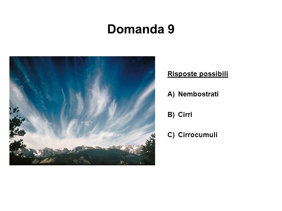 Domanda 9 Risposte possibili A) Nembostrati B) Cirri C) Cirrocumuli