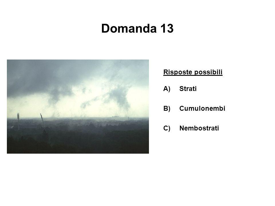 Domanda 13 Risposte possibili Strati B) Cumulonembi C) Nembostrati