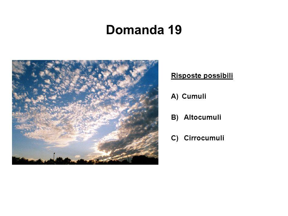 Domanda 19 Risposte possibili A) Cumuli B) Altocumuli C) Cirrocumuli