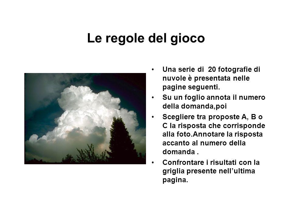 Le regole del gioco Una serie di 20 fotografie di nuvole è presentata nelle pagine seguenti. Su un foglio annota il numero della domanda,poi.