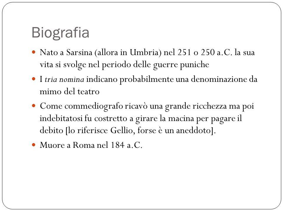 Biografia Nato a Sarsina (allora in Umbria) nel 251 o 250 a.C. la sua vita si svolge nel periodo delle guerre puniche.