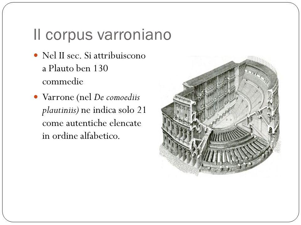 Il corpus varroniano Nel II sec. Si attribuiscono a Plauto ben 130 commedie.