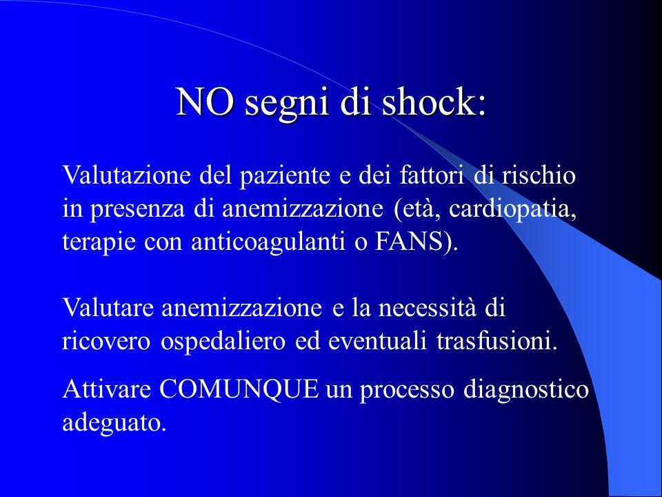 NO segni di shock: