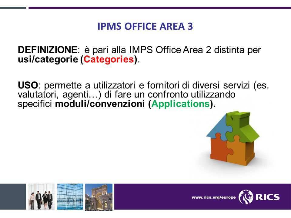 IPMS OFFICE AREA 3 DEFINIZIONE: è pari alla IMPS Office Area 2 distinta per usi/categorie (Categories).