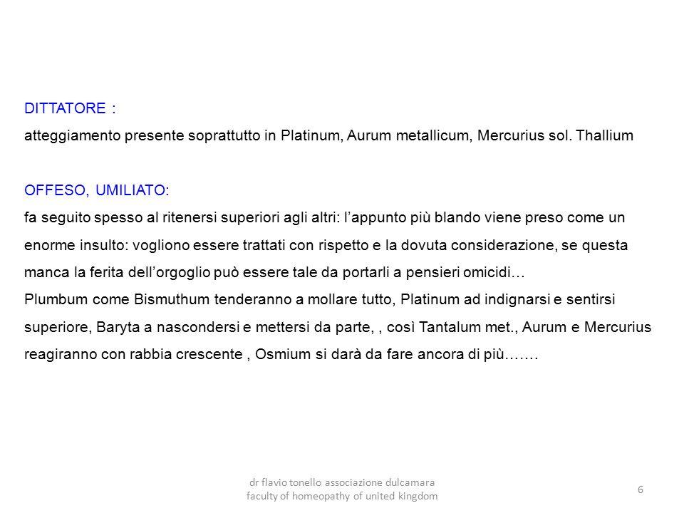 DITTATORE : atteggiamento presente soprattutto in Platinum, Aurum metallicum, Mercurius sol. Thallium.
