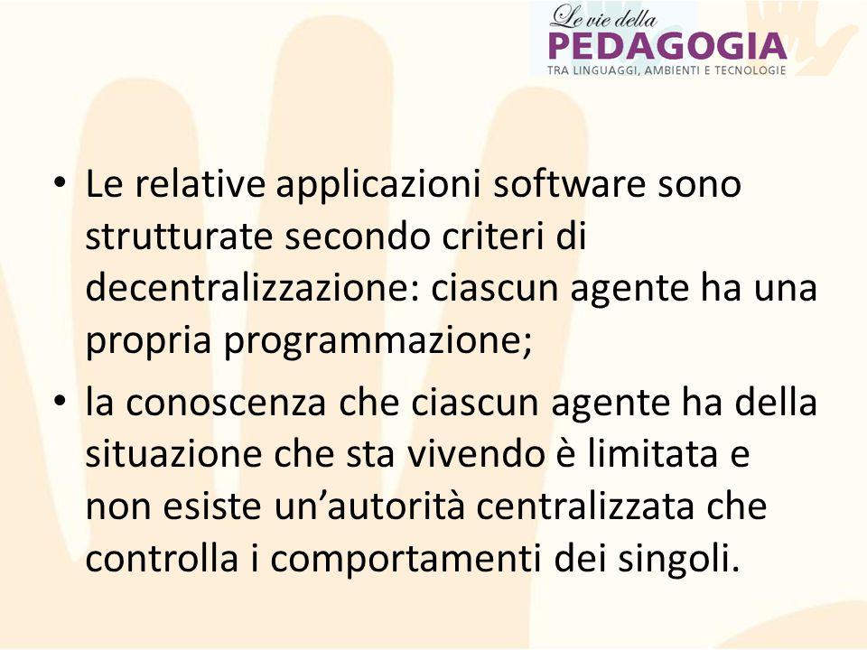 Le relative applicazioni software sono strutturate secondo criteri di decentralizzazione: ciascun agente ha una propria programmazione;