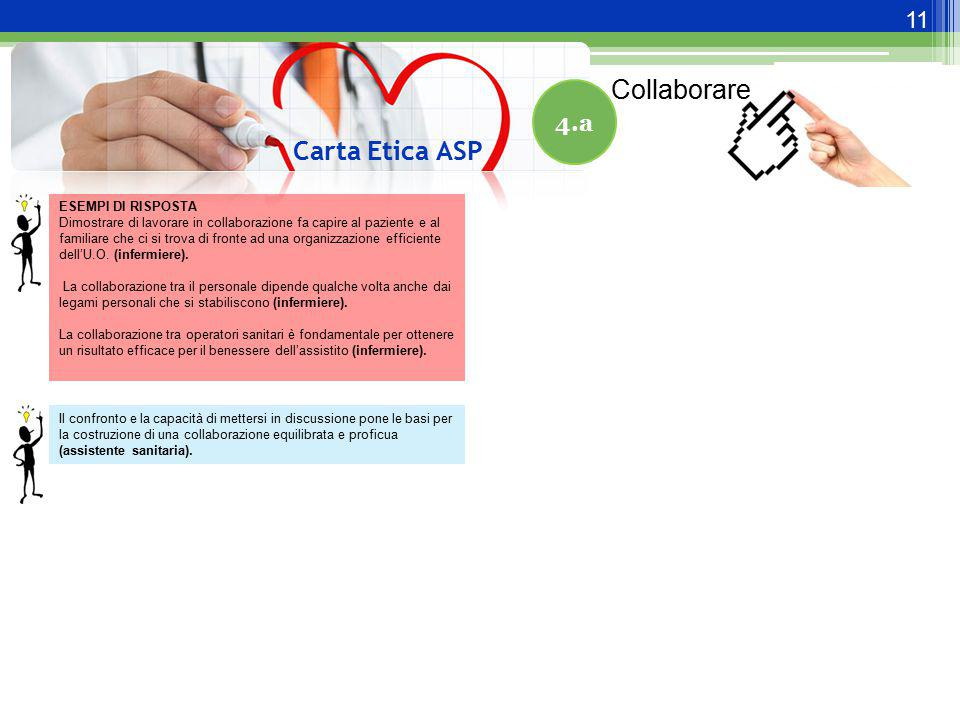 Collaborare Carta Etica ASP 4.a ESEMPI DI RISPOSTA
