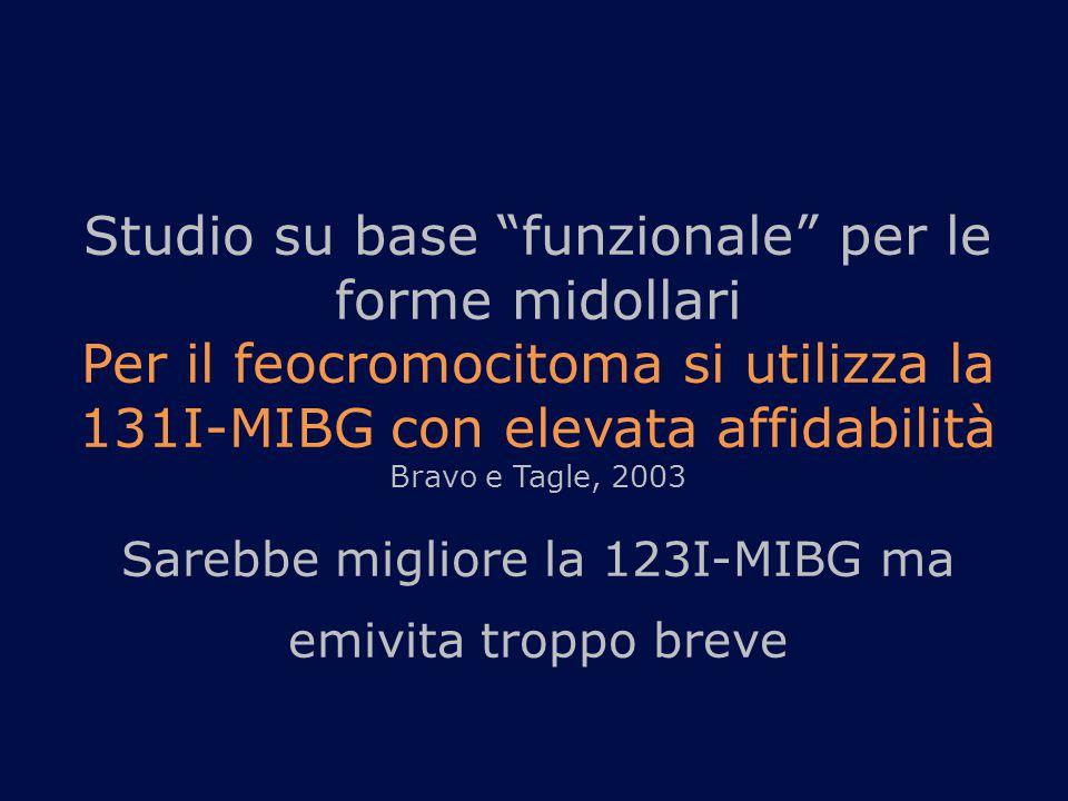 Studio su base funzionale per le forme midollari Per il feocromocitoma si utilizza la 131I-MIBG con elevata affidabilità Bravo e Tagle, 2003 Sarebbe migliore la 123I-MIBG ma emivita troppo breve