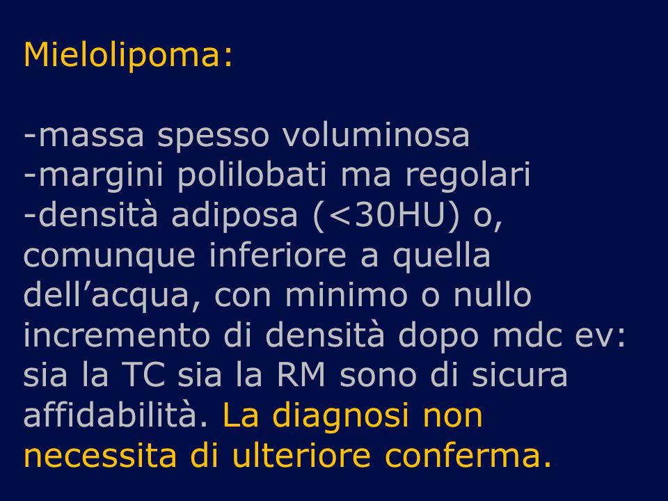 Mielolipoma: -massa spesso voluminosa -margini polilobati ma regolari -densità adiposa (<30HU) o, comunque inferiore a quella dell'acqua, con minimo o nullo incremento di densità dopo mdc ev: sia la TC sia la RM sono di sicura affidabilità.