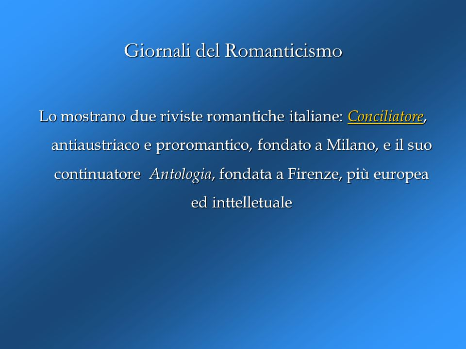 Giornali del Romanticismo