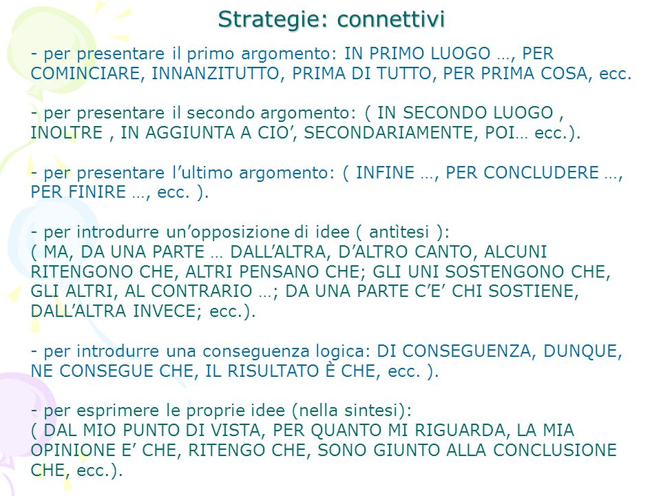 Strategie: connettivi