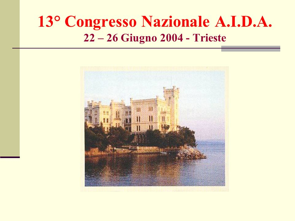 13° Congresso Nazionale A.I.D.A. 22 – 26 Giugno 2004 - Trieste