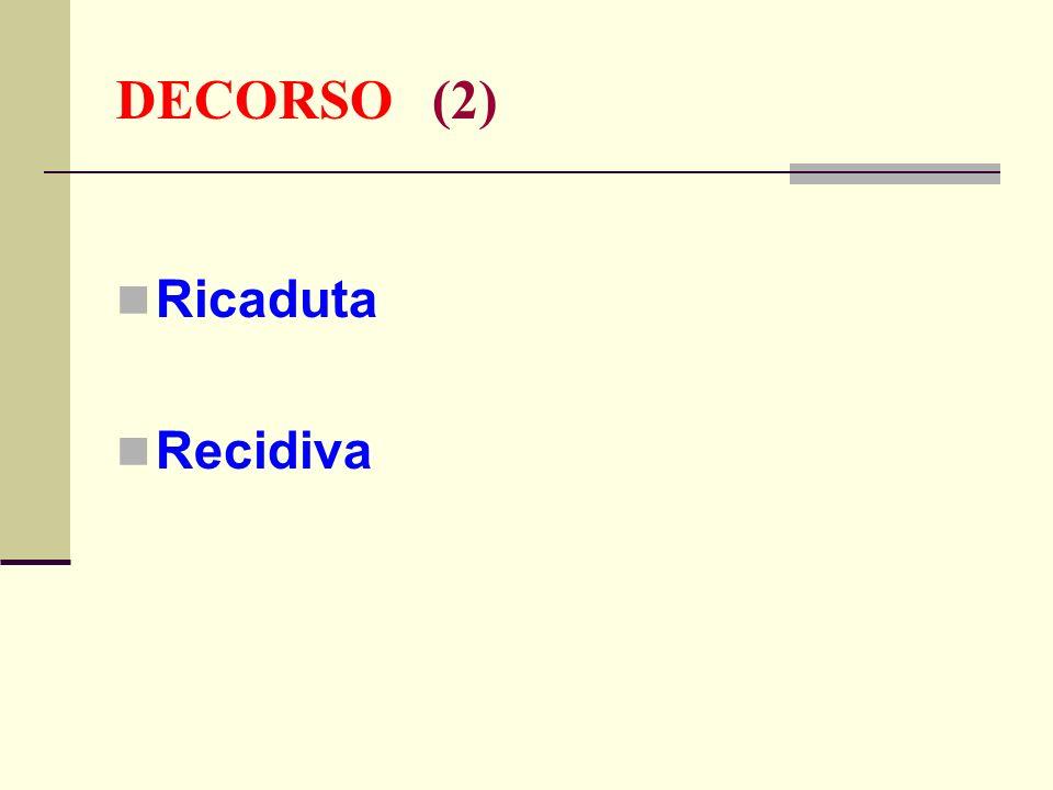 DECORSO (2) Ricaduta Recidiva