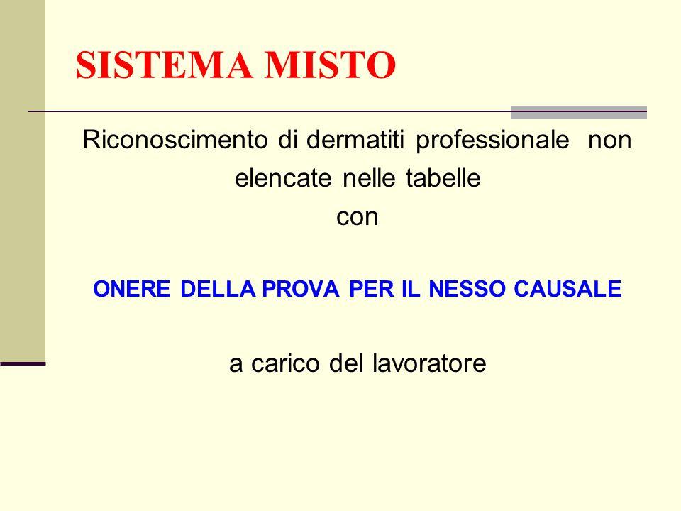 SISTEMA MISTO Riconoscimento di dermatiti professionale non